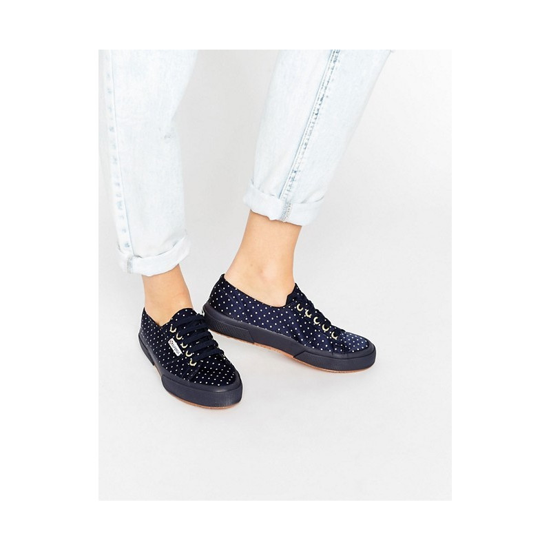 Superga Navy Dots White
